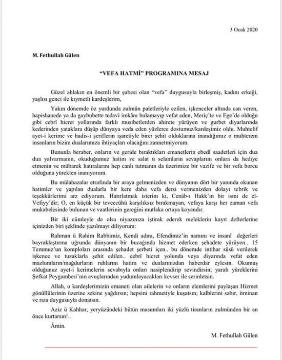 Fethullah Gülen Hocaefendi'den 'Vefa' mesajı 3