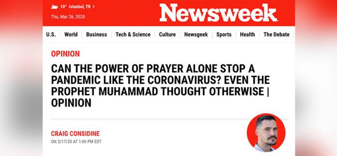 Newsweek, Korona ile mücadelede Hz. Muhammed'in (sav) tavsiyelerini örnek gösterdi 2