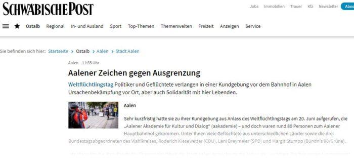 Aalen'de Dünya Mülteciler Günü etkinliği 2