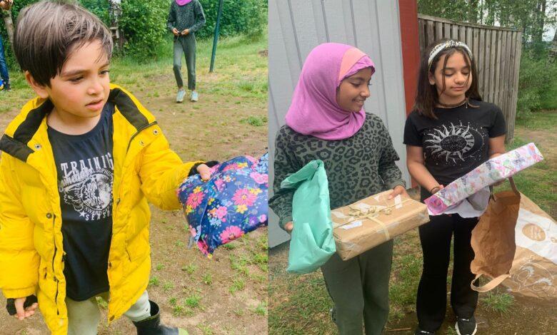 İsveç'teki Hizmet gönüllüleri kampta kalan çocuklara hediye dağıttı 1