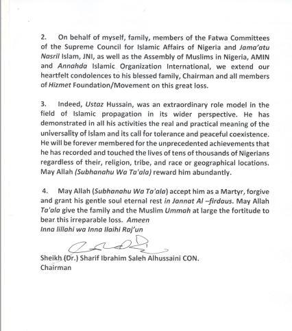 Nijerya Müslümanlar Konsey'inden Baydar Ağabey'e taziye 4