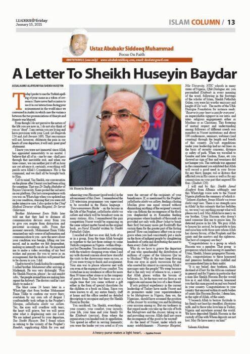 Merhum Baydar Ağabey'e Nijerya'dan mektup 3