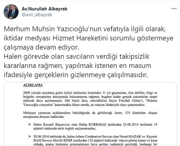 """Hocaefendi'nin avukatından """"Yazıcıoğlu cinayeti"""" ile ilgili açıklama 2"""