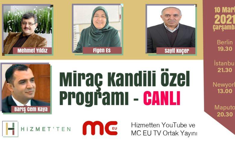 CANLI | Miraç Kandili Özel Programı YARIN akşam 1