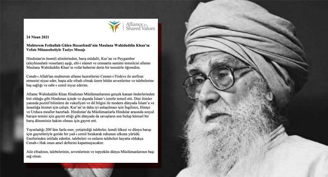 Hocaefendi'nin taziye mesajı Hindistan'ın en çok satılan Urduca gazetesinde 1